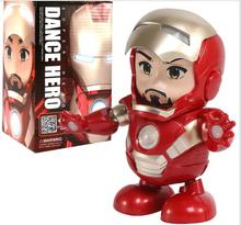 In Boxed Singing Childrens Toys Q Version Iron Man Electric Light Music Dancing Robot Toy Funny Gift Gadgets