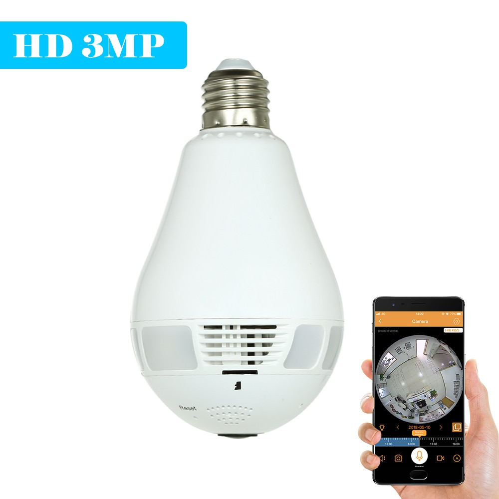 3MP HD Wireless Wifi VR Light Bulb IP Camera 360°panoramic monitoring without blind spots Security camera