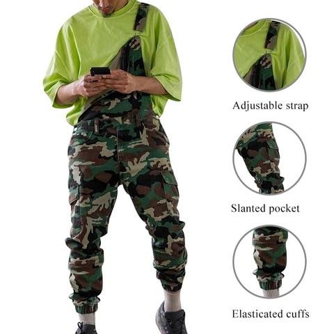 HEFLASHOR Single Shoulder Jeans Pantalones Hombre Camouflage Print Denim Jumpsuits Strap Overalls Casual Distressed Jeans Pant Multan