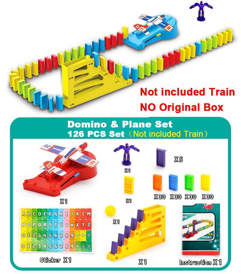 Автоматическая укладка домино кирпич Поезд Автомобиль набор звуковой светильник дети красочные пластиковые блоки домино игра игрушки набор подарок для девочек и мальчиков - Цвет: Domino Plane set N