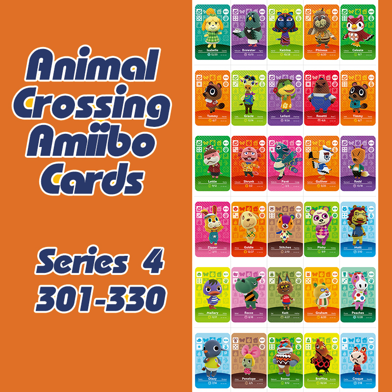 Animal Crossing New Horizons Amiibo Card For NS Switch 3DS Game Lobo Card Set Series 4 (301-330)