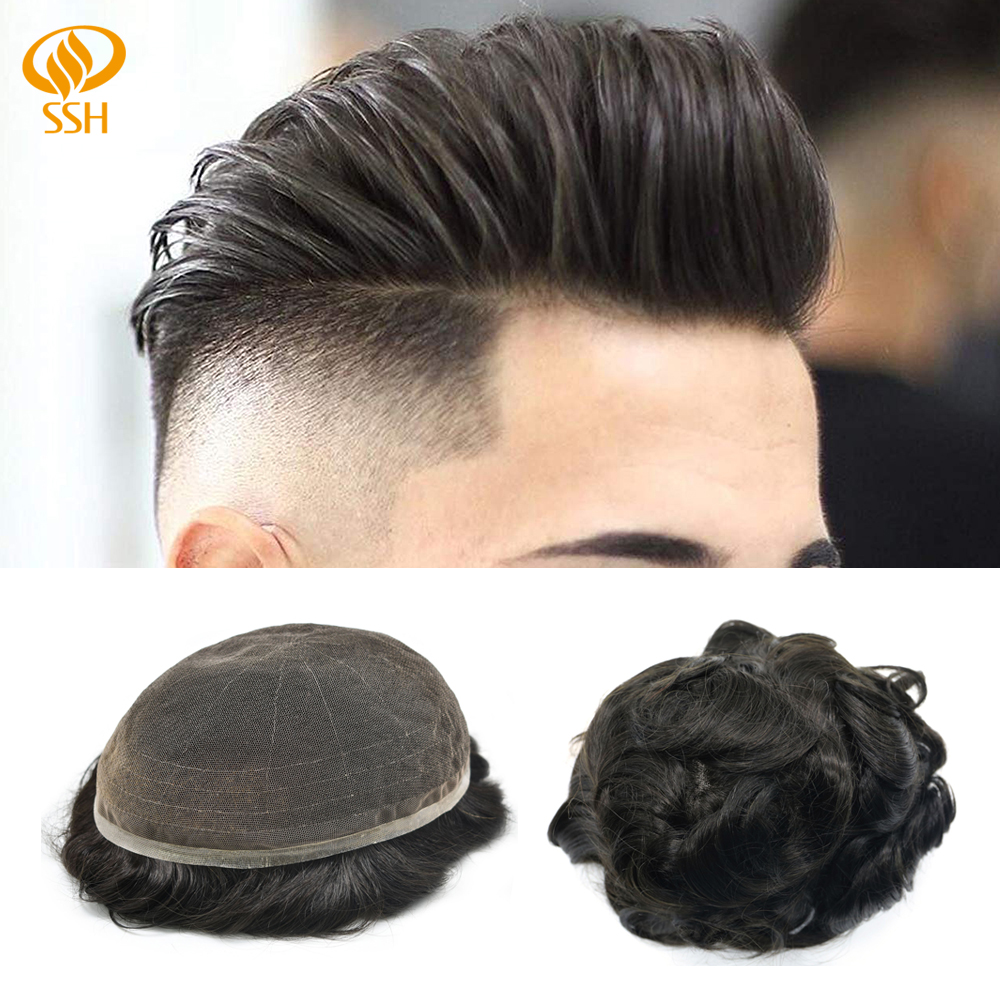 Man Wig Full French Lace Breathable Hair Replacement System Men Hair Toupee