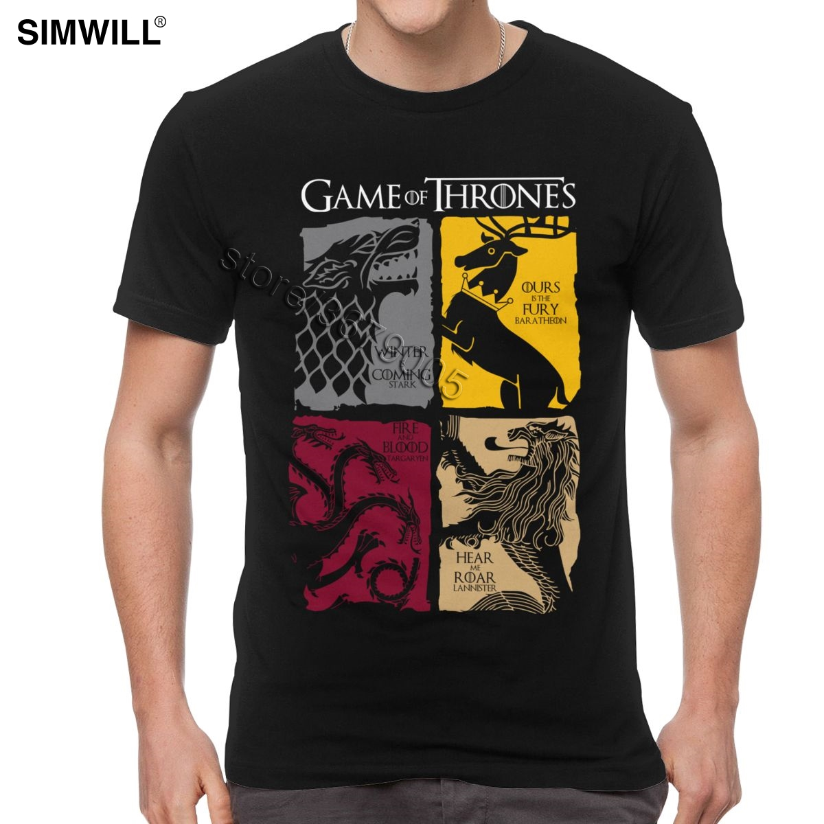 Vintage Game Of Thrones T Shirt Men Short Sleeved House Stark T-shirt Targaryen Lannister Tees Cotton Tshirt Oversized Clothing