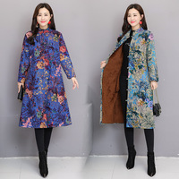 Fp286 @ 2019 Autumn And Winter Large Size Retro National Style Printed Cotton Linen Brushed And Thick Frog Hat Coat