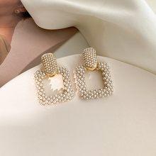 2020 New Fashion Sweet Pearl Joker Senior Drop Earrings Elegant Contracted Geometric Square Senior Women Earrings Atmosphere