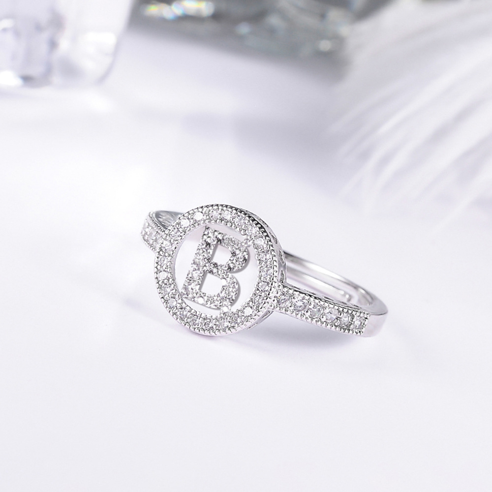 fashion mosaic cubic Zirconia Crystal Alphabet Letter Rings silver color Adjustable rings For Women Korean Jewelry 3
