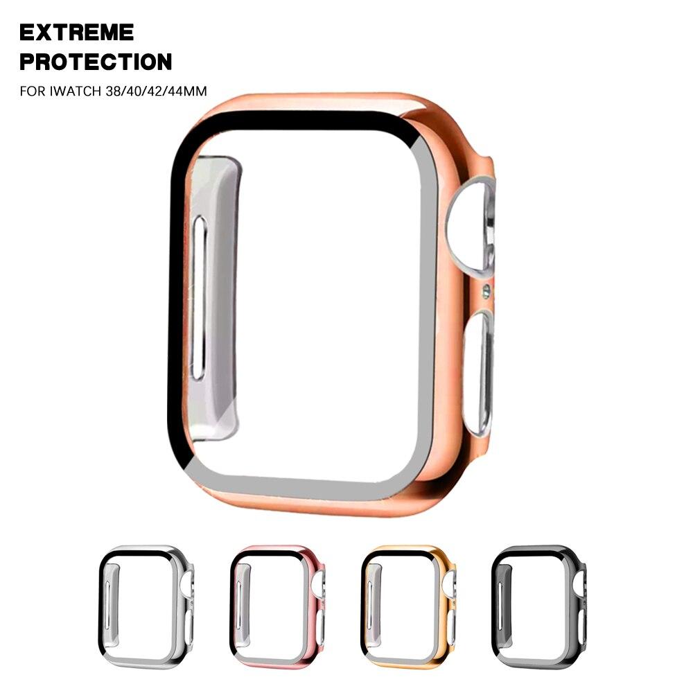 Полная защита для Apple Watch series 5 4 3 21, бампер, жесткая рамка, чехол со стеклянной пленкой для защиты экрана iWatch 38 мм 40 мм 42 мм 44 мм