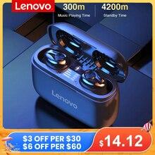 Lenovo auriculares TWS inalámbricos por Bluetooth, cascos deportivos con estéreo HiFi, Batería grande de 1000mAH, con micrófono, compatible con iOS y Android