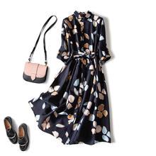 Chiffon vestido de impressão feminina retro cintura três quartos manga camisa vestido solto peça vestido boêmio