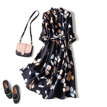 Shirt Dress Waist-Three-Quarter-Sleeve Loose-Piece Chiffon-Print Retro