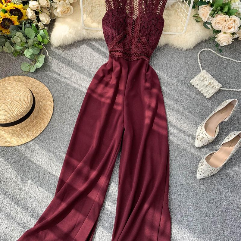 Elegant High Waist Hip Wide Leg Patchwork Lace Hollow Out Sleeveless Jumpsuit 16