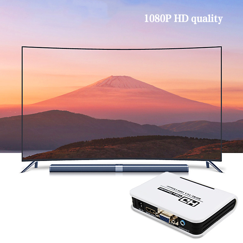 Home HD 1080P Video Equipments HDMI To VGA Converter Box Audio Adapter Miracast Anycast Android Netflix Youtube image