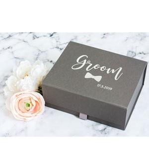 Персонализированная белая Подарочная коробка жениха из настоящей фольги на заказ, серая Подарочная коробка с датой свадьбы, розовое золото...