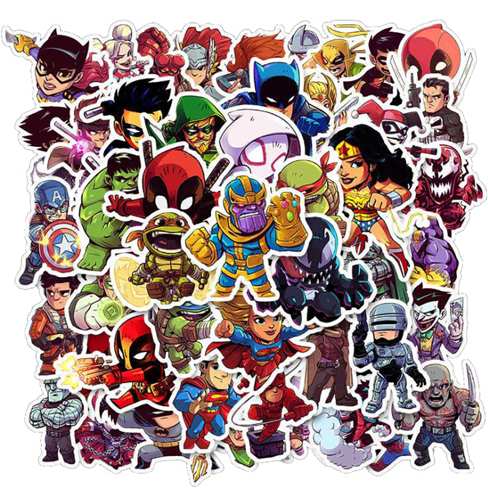 50PCS Marvel Super Hero Cartoon Stickers Car Motorcycle Travel Luggage Phone Guitar Skateboard Waterproof Cool Decal Stickers
