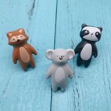 1 шт. ручка с мультипликационным животным керамическим рисунком Panda Fox изображения детские шкафы с ручками домашние ящики Декор Мебель Оборудование