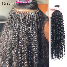 Human-Hair-Extensions Bulk-Hair Microlinks Kinky-Curly-I-Tip Mongolian Black-Color Natural