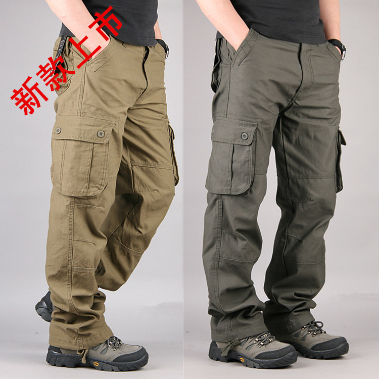 Spring And Autumn Tide Men's Pants Outdoor Casual Men's Pants Men's Multi-bag Pants Loose Straight Casual Pants