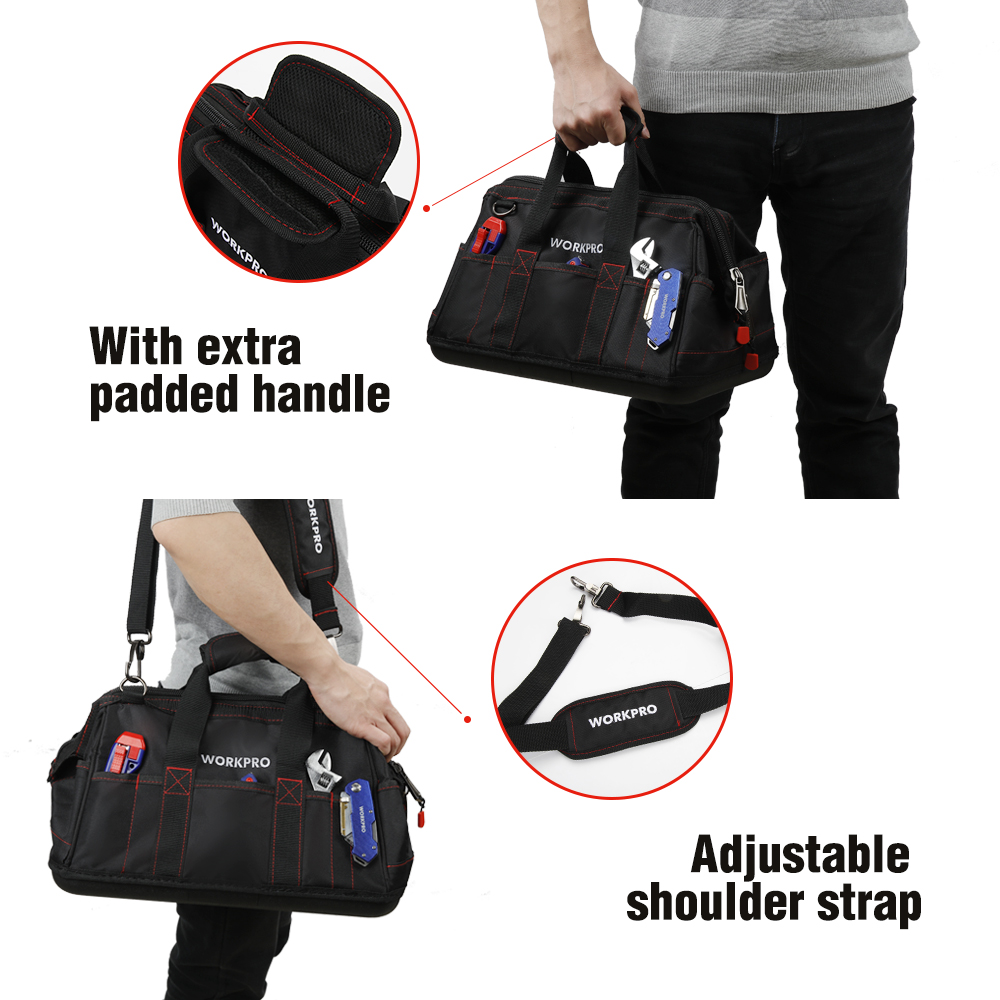 WORKPRO Tool Bags, Portable Waterproof Electrician Bag Multifunction Canvas Tool Organizer for Repair Installation HVAC