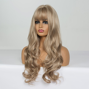 Image 5 - ALAN EATON Long Wavy Wigs for Black Women African American Synthetic Hair Light Brown Wigs with Bangs Heat Resistant Cosplay