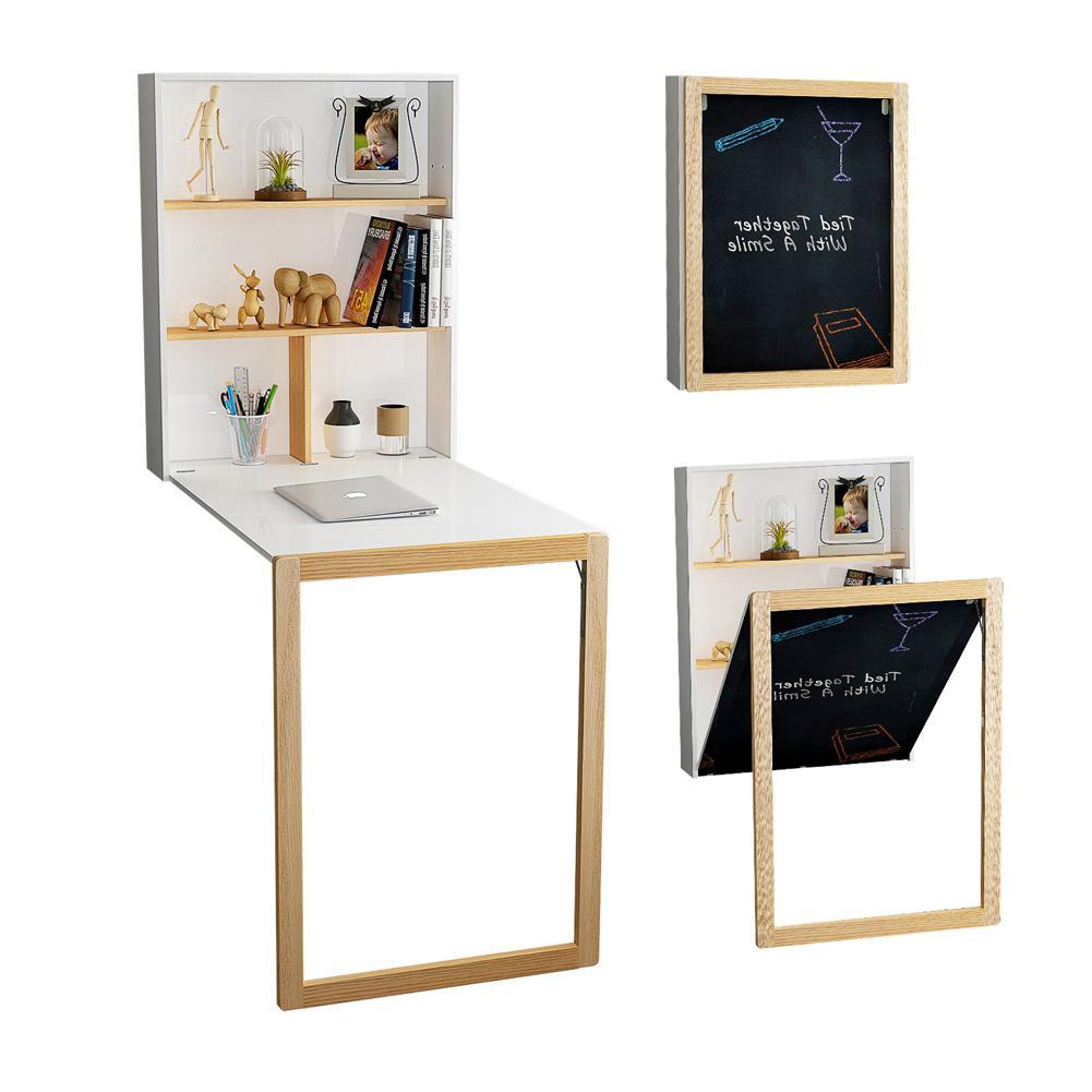 3 In 1 Folding Computer Desk Wall Hanging Book Shelf Blackboard For Home Storage