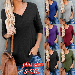 Casual Black Women T-Shirts Long Sleeve Autumn Cotton Tee Loose Sports Ladies Top Button V-Neck Street Blue T-Shirt Big Size 5XL