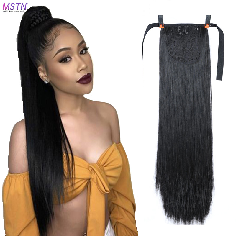 MSTN 18-32 Inches Synthetic Band Ponytail Hair Clips Extended In Female Hair Headwear