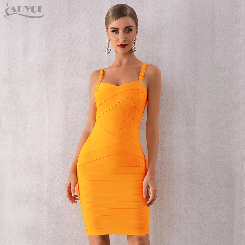 Adyce 2019 New Summer Women Bodycon Orange Bandage Dress Elegant Spaghetti Strap Sleeveless Club Dress Celebrity Runway Evening Party Dress Vestidos