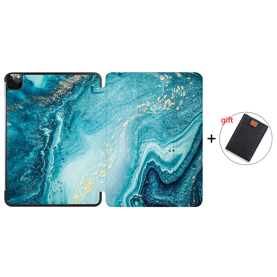 IP04 Blue MTT 2020 Marble Tablet Case For iPad Pro 11 inch A2228 A2231 PU Leather Magnetic Fold