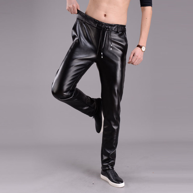 Spring Summer Men Leather Pants Elastic High Waist Lightweight Casual PU Leather Trousers Thin Causal Trousers 1