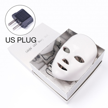 7 Colors Led Therapy Mask Light Face Mask Therapy Anti Acne Whitening Facial Mask Korean Skin Care Face Rejuvenation Home SPA - US Plug Box
