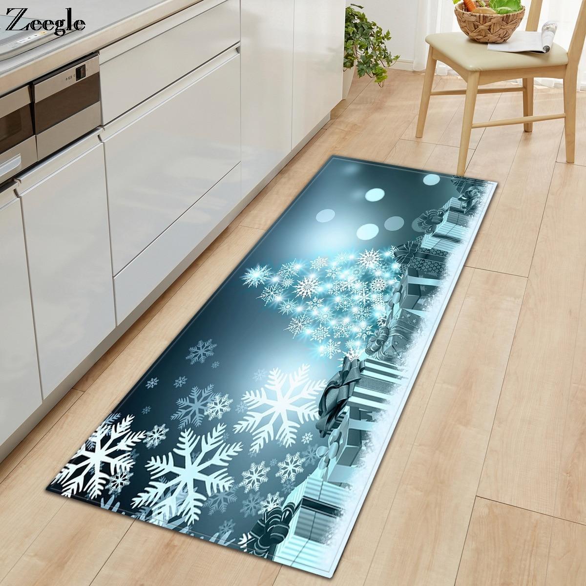 Us 7 06 44 Off Zeegle Christmas Carpet Kitchen Rug Anti Slip Hallway Floor Rug Living Room Carpet Washable Bathroom Doormat Bedside Carpet Mat In