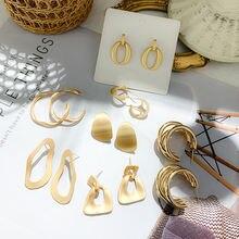 Женские серьги подвески золотого цвета модные круглые сережки