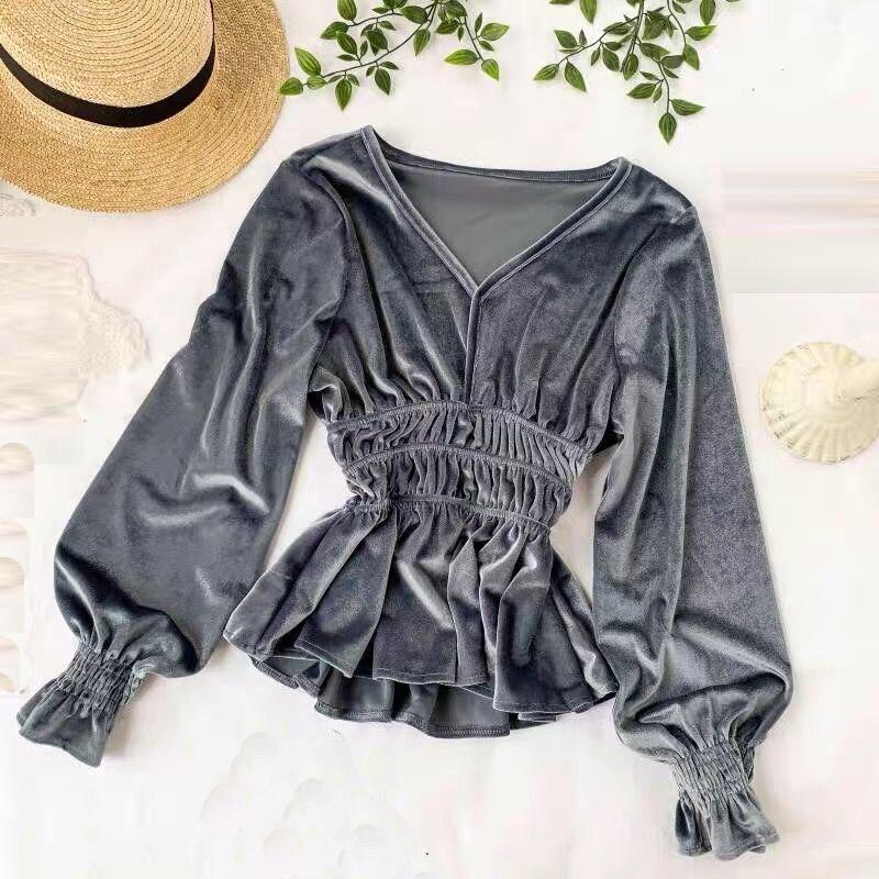 Outono moda das mulheres com decote em v blusa camisas lanterna do vintage manga longa camisa de veludo casual escritório senhora babados solto topos