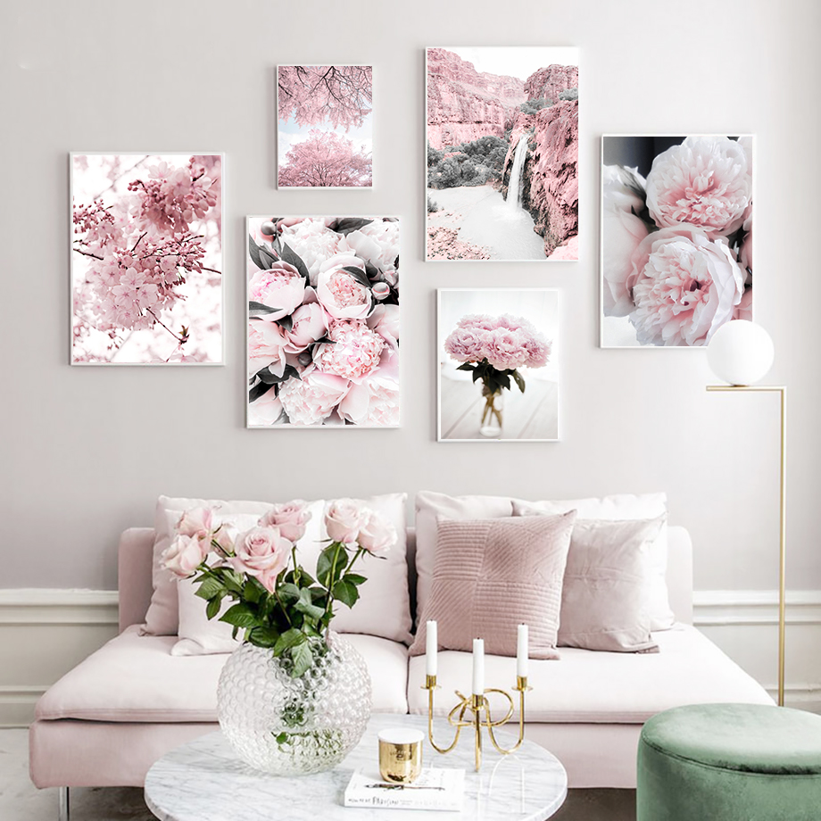 Cherry Blossoms Peony Carnation Flower Mountain Nordic Posters And Prints Wall Art Canvas Painting Wall Pictures For Living Room