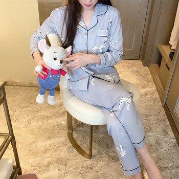 Pijama de algodón para Mujer, Conjunto de Pijama para Mujer de Invierno, Pijama para Mujer, Pijama con estampado Dumbo, ropa de dormir bonita para Mujer