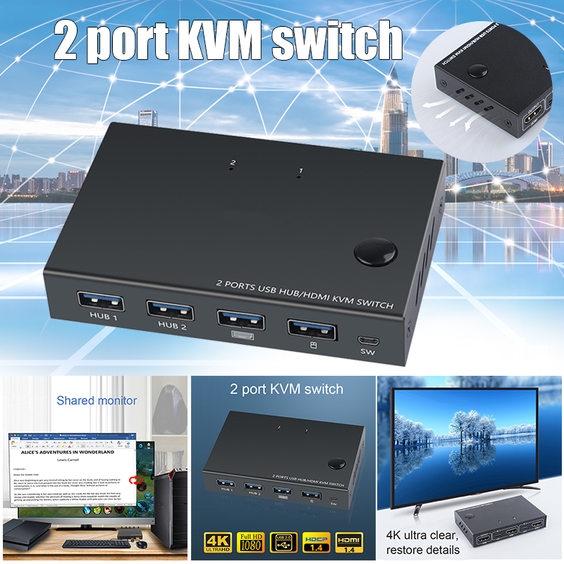 2 In 1 Out HDMI KVM Switch Box Video Display 4K USB Switch Splitter For 2 PC Sharing Keyboard Mouse Printer KQS8