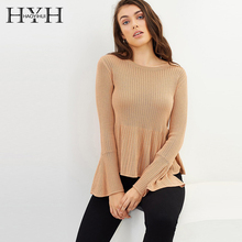 HYH HAOYIHUI 2019 Euro-American style simple pure-color bell sleeve bottom early autumn round collar Pullover knitted shirt
