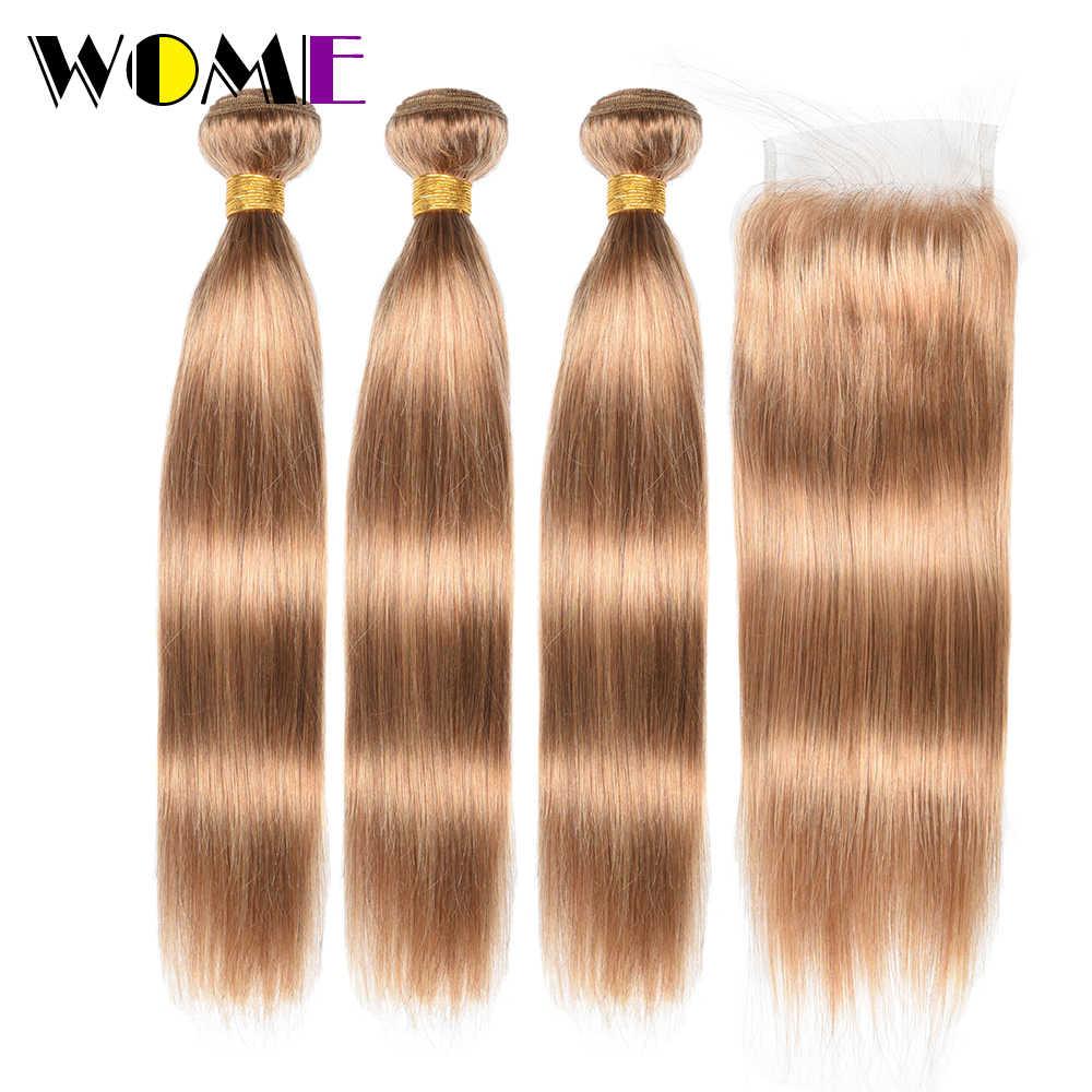 Wome #27 перуанские прямые волосы с закрытием медовый блонд цвет человеческие волосы плетение 3 пучка с 4X4 кружева закрытие не реми волосы
