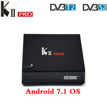 цена на MECOOL KII PRO DVB-S2 DVB-T2 DVB-C Amologic S905D Quad Core Android 7.1 TV Box 2GB 16GB ROM K2 Pro 1080P 4K H.265 Media player