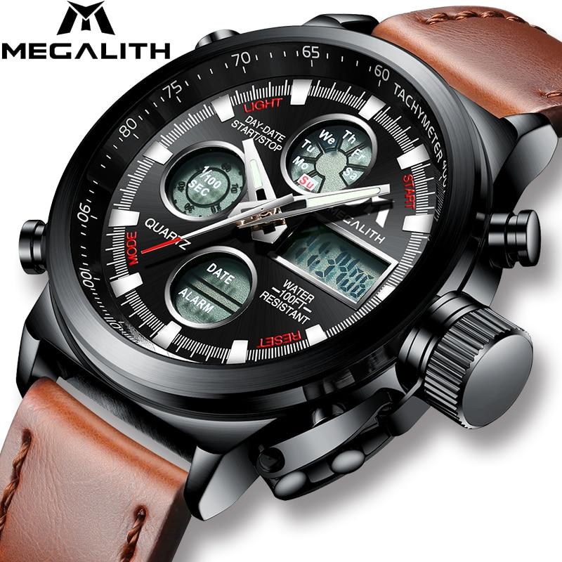 MEGALITH Watch Men Military Sports Waterproof Wristwatch LED Digital Multifunction Watch Male Clock Brown Genuine Leather Watch