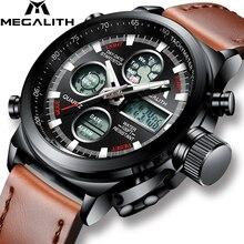 MEGALITH İzle erkekler askeri spor su geçirmez kol saati LED dijital çok fonksiyonlu İzle erkek saat kahverengi hakiki deri İzle