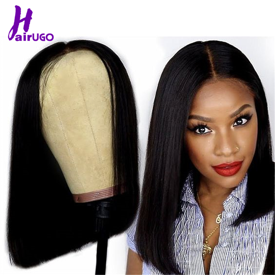 HairUGo 4*4 Lace Bob Wigs 100% Human Hair Wigs 8''-16'' Middle Ratio Pre Plucked Lace Wig Malaysia Remy Hair For Black Women