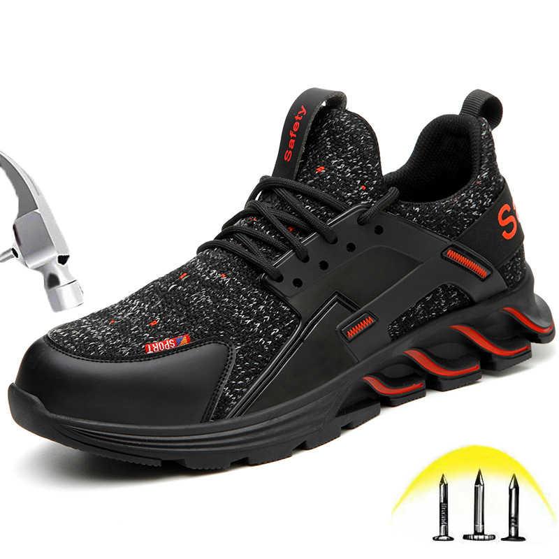 Moda açık çelik burunlu güvenlik ayakkabıları erkekler kadınlar hafif nefes spor ayakkabı rahat endüstriyel inşaat iş ayakkabısı