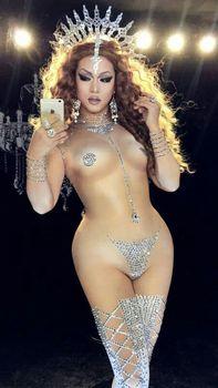female Mesh bodysuit Modern singer car model dance Dj sexy nude rhinestone printed long conjoined stage adult costume women