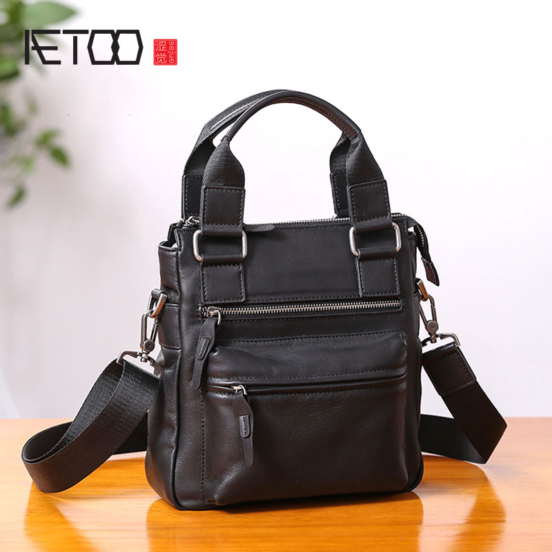 AETOO Small Handbag Men's Leather Vertical Business Casual Shoulder Diagonal Cross-body Leather Men's Bag