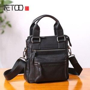 Image 1 - AETOO حقيبة يد صغيرة للرجال جلد عمودي الأعمال عادية الكتف قطري عبر الجسم حقيبة رجالية جلدية