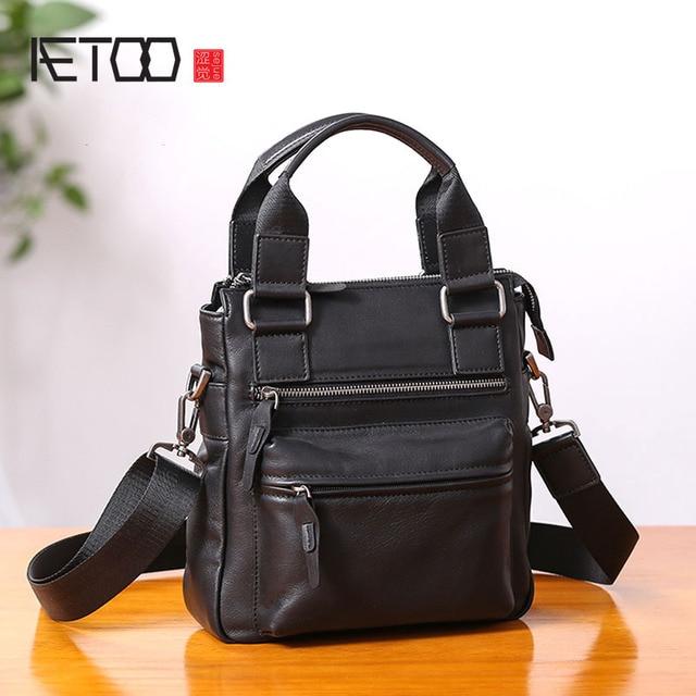 AETOO حقيبة يد صغيرة للرجال جلد عمودي الأعمال عادية الكتف قطري عبر الجسم حقيبة رجالية جلدية