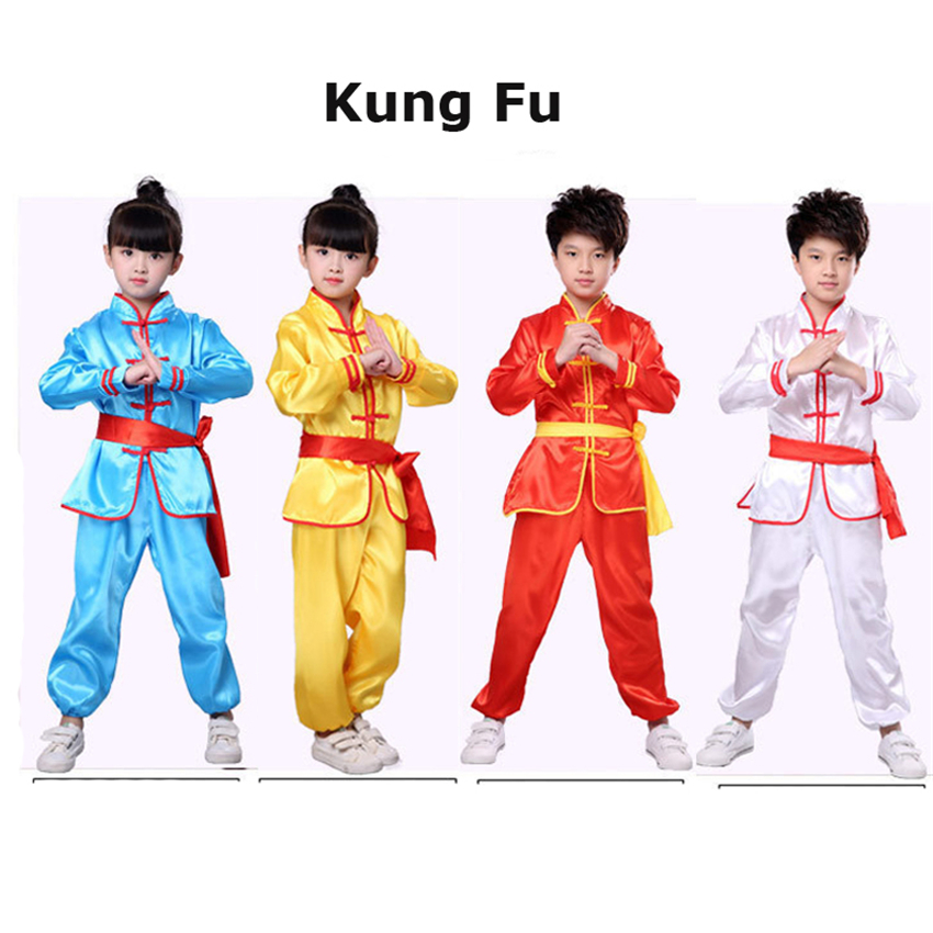 Bruce Lee Children Chinese Style Kung Fu Festival Outfits Kids Hanfu Jacket+pants+suit Dance Costume Tang Suit Girl Boy Stage