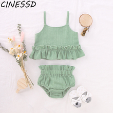 Baby Girl Clothes Set Cotton Line Summer Vest Top T-shirt+Shorts Toddler Kids Casual Solid Clothing Suit 2Pcs Girls Outfits 1-4Y summer baby toddler girl clothes t shirt skirts kids clothes sports suit for girls clothes 2pcs set children clothing 3 7 year