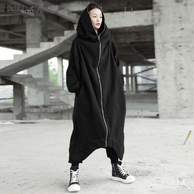H19fc5ad73e134906ba48a6f3e58526edc 2019 ZANZEA Winter Hoodies Sweatshirt Women Hooded Zip Long Sleeve Fleece Irregular Boyfriend Pockets Long Coat Jacket Plus Size